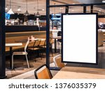 Stock photo mock up poster frame template in cafe table and seats interior advertising banner 1376035379