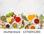 set of various spices and herbs ... | Shutterstock . vector #1376041283