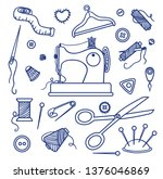 sewing tools set. blue countour ... | Shutterstock .eps vector #1376046869