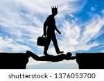 selfish man with a crown on his ... | Shutterstock . vector #1376053700