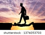 selfish man with a crown on his ... | Shutterstock . vector #1376053703