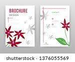 red flower petals and green... | Shutterstock .eps vector #1376055569