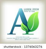 alphabet natural logo a  letter ... | Shutterstock .eps vector #1376063276