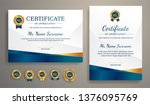 Stock vector certificate of appreciation template gold and blue color clean modern certificate with gold badge 1376095769