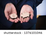 wood figure with business icons ... | Shutterstock . vector #1376101046