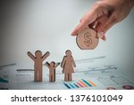 wood figure with business icons ... | Shutterstock . vector #1376101049