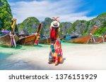 traveler woman hand doing... | Shutterstock . vector #1376151929