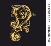gold ornament baroque style....   Shutterstock .eps vector #1376153693
