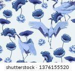 seamless pattern with cranes... | Shutterstock .eps vector #1376155520