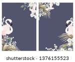 card templates with tropical... | Shutterstock .eps vector #1376155523