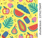 seamless pattern with fruit and ... | Shutterstock .eps vector #1376173649