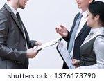 staff discuss business... | Shutterstock . vector #1376173790