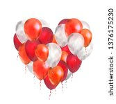 a lot of luxury balloons in red ... | Shutterstock . vector #1376175230