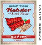 vintage robster   steak house... | Shutterstock .eps vector #137617646