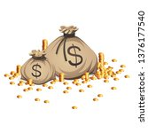 bags of money. gold coins stack.... | Shutterstock .eps vector #1376177540