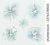 broken glass. realistic cracked ... | Shutterstock .eps vector #1376178533