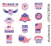 made in usa. flag made america... | Shutterstock .eps vector #1376178536