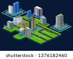 3d isometric city with... | Shutterstock .eps vector #1376182460