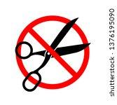do not cut  red forbidden sign... | Shutterstock . vector #1376195090