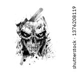 scratch devil skull   vampire... | Shutterstock .eps vector #1376208119