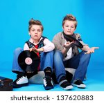 Portrait Of Two Boys With Vinil ...