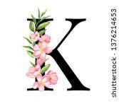 alphabet. letter k  monogram... | Shutterstock . vector #1376214653