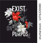 typography slogan with red lily ... | Shutterstock .eps vector #1376220080