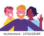 vector cheerful friends making...   Shutterstock .eps vector #1376228189