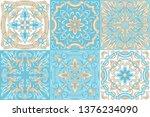 portuguese azulejo ceramic tile ... | Shutterstock .eps vector #1376234090