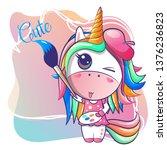 cute happy girl unicorn cartoon.... | Shutterstock .eps vector #1376236823
