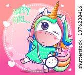 cute happy girl unicorn cartoon.... | Shutterstock .eps vector #1376238416