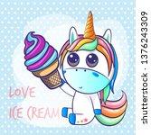 cute unicorn with ice cream... | Shutterstock .eps vector #1376243309