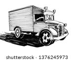old truck. ink black and white... | Shutterstock . vector #1376245973