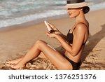 sexy suntan bikini woman legs...   Shutterstock . vector #1376251376