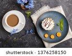 cake with whipped egg cream on... | Shutterstock . vector #1376258150
