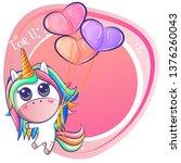 cute unicorn with heart... | Shutterstock .eps vector #1376260043
