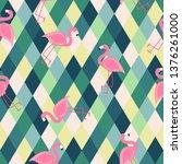 cute seamless flamingo pattern... | Shutterstock .eps vector #1376261000