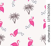 cute seamless flamingo pattern... | Shutterstock .eps vector #1376261006