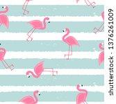 cute seamless flamingo pattern... | Shutterstock .eps vector #1376261009