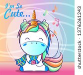 cute baby unicorn listening... | Shutterstock .eps vector #1376261243
