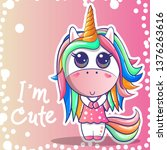 cute unicorn girl with a pink... | Shutterstock .eps vector #1376263616