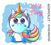 cute baby unicorn. can be used... | Shutterstock .eps vector #1376264039