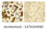 seamless pattern glass latte ... | Shutterstock .eps vector #1376264060