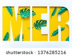 letter mer cut from paper with...   Shutterstock . vector #1376285216