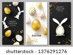 happy easter set of vertical... | Shutterstock .eps vector #1376291276