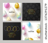 happy easter set of cards... | Shutterstock .eps vector #1376291279