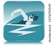 square icon   swimmer  woman on ... | Shutterstock .eps vector #1376294549