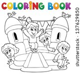 coloring book kids play theme 5 ... | Shutterstock .eps vector #137629850