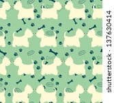 seamless pattern with dogs...   Shutterstock .eps vector #137630414