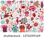 underwater sea flora and fauna... | Shutterstock .eps vector #1376359169